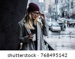 woman with perfect city style.... | Shutterstock . vector #768495142