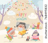 happy couple of elderly with... | Shutterstock .eps vector #768495832