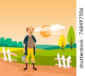 male farmer standing with... | Shutterstock .eps vector #768497506