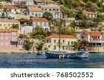 sailing boat moored in the... | Shutterstock . vector #768502552