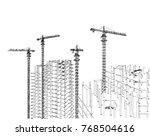 architecture building... | Shutterstock . vector #768504616
