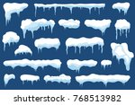 snow with icicles and snow... | Shutterstock .eps vector #768513982