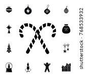 christmas candy cane icon. set...