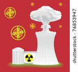 nuclear plant with mushroom... | Shutterstock .eps vector #76853947