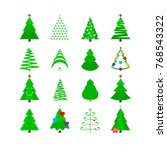 green christmas tree icon set.... | Shutterstock . vector #768543322