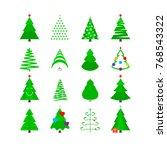 green christmas tree icon set.... | Shutterstock . vector #768543322