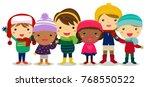 children  winter clothes | Shutterstock .eps vector #768550522
