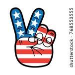 Hand Peace Sign Symbol Usa...