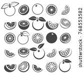 orange icons. tasty fresh... | Shutterstock .eps vector #768553582