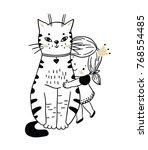 cute cat and little princess   Shutterstock .eps vector #768554485