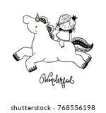 cute unicorn and little princess   Shutterstock .eps vector #768556198