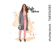 urban style. fashionable bow....   Shutterstock .eps vector #768556585