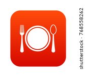 place setting with plate spoon...   Shutterstock .eps vector #768558262