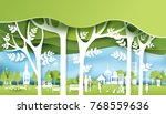 green eco city and life paper... | Shutterstock .eps vector #768559636