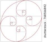 fibonacci spiral. golden ratio | Shutterstock .eps vector #768566842