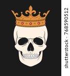 skull wearing crown. vector... | Shutterstock .eps vector #768590512