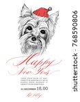 a dog in a santa claus hat....   Shutterstock .eps vector #768590806