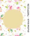 painted flower invitation... | Shutterstock . vector #768591136