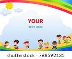 happy children and books frame | Shutterstock .eps vector #768592135