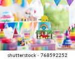 kids birthday party decoration. ... | Shutterstock . vector #768592252