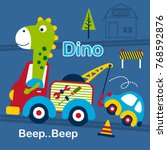 dino and tow truck funny... | Shutterstock .eps vector #768592876