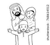 hand drawn happy muslim family... | Shutterstock .eps vector #768614512