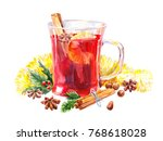 watercolor mulled wine.... | Shutterstock . vector #768618028