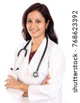 young cheerful female doctor... | Shutterstock . vector #768623392