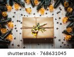 christmas gift box with a bow...   Shutterstock . vector #768631045