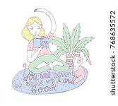 lovely girl with book in yoga... | Shutterstock .eps vector #768635572