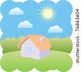 house under a blue sky | Shutterstock .eps vector #76863604