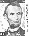 Small photo of Abraham Lincoln portrait from us 5 dollars black and white