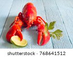lobster with lime and parsley... | Shutterstock . vector #768641512