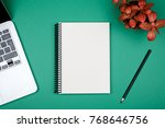 minimal workplace with laptop... | Shutterstock . vector #768646756