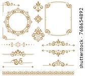 Stock vector vintage vector set floral elements for design monograms invitations frames menus and labels 768654892