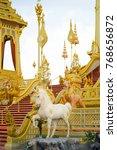 Small photo of Bangkok, Thailand - November 14, 2017: Sculpture of Albino horse in Himavanta forest in Hindu mythology is decorated around the Royal Crematorium for HM King Bhumibol Adulyadej.
