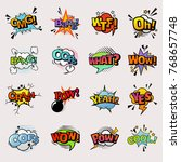 pop art comic vector speech... | Shutterstock .eps vector #768657748