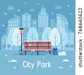 winter city park landscape with ... | Shutterstock .eps vector #768660622