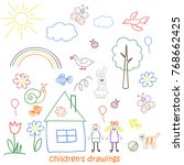 collection of children drawings | Shutterstock .eps vector #768662425