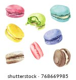 watercolor macaroons mix hand... | Shutterstock . vector #768669985