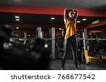 beautiful athletic girl doing...   Shutterstock . vector #768677542