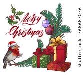 christmas greeting card.... | Shutterstock .eps vector #768687076