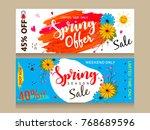 spring season sale header set... | Shutterstock .eps vector #768689596