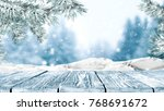 desk of free space and winter... | Shutterstock . vector #768691672