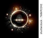 fingerprint scan with abstract... | Shutterstock .eps vector #768692242