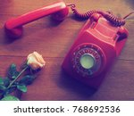 close up vintage telephone on... | Shutterstock . vector #768692536