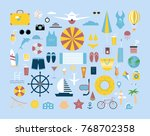 summer items set. colorful... | Shutterstock .eps vector #768702358