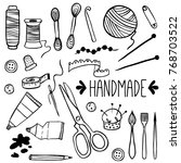 handmade kit icons set  sewing  ... | Shutterstock .eps vector #768703522