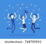 people celebrating victory.... | Shutterstock .eps vector #768705952