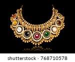a beautiful golden necklace... | Shutterstock . vector #768710578